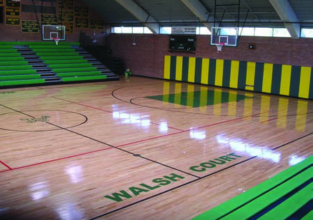 Flooring Upgrade Trinity Catholic High School Stamford CT by Baker Sports Flooring Southington CT